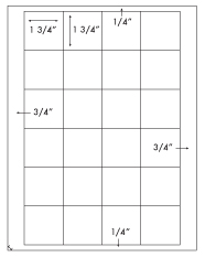 1 3/4 x 1 3/4 Square<BR>Natural Ivory Printed Label Sheet<BR><B>USUALLY SHIPS IN 2-3 BUSINESS DAYS</B>