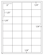 2 x 1 1/2 Rectangle <BR>White High Gloss Laser Label Sheet<BR>Wholesale Pkg. 250 sheets<BR><B>USUALLY SHIPS WITHIN 24 HRS</B>