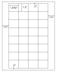 1.592 x 1.3 Rectangle <BR>White High Gloss Printed Label Sheet<BR><B>USUALLY SHIPS IN 2-3 BUSINESS DAYS</B>