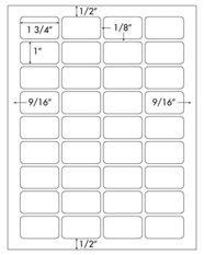 1 3/4 x 1 Rectangle<BR>Natural Ivory Label Sheet<BR>Wholesale Pkg. 250 sheets<BR><B>USUALLY SHIPS WITHIN 3 DAYS</B>