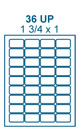1 3/4 x 1 Rectangle<BR>Natural Ivory Printed Label Sheet<BR><B>USUALLY SHIPS IN 2-3 BUSINESS DAYS</B>