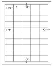 1 1/2 x 1 Rectangle <BR>Recycled White Printed Label Sheet<BR><B>USUALLY SHIPS IN 2-3 BUSINESS DAYS</B>