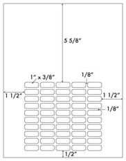 1 x 3/8 Rectangle <BR>Silver Foil Laser Label Sheet<BR>Wholesale Pkg. 250 sheets<BR><B>USUALLY SHIPS WITHIN 24 HRS</B>