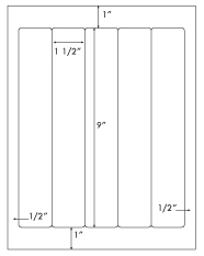 1 1/2 x 9 Rectangle <BR>White High Gloss Printed Label Sheet<BR><B>USUALLY SHIPS IN 2-3 BUSINESS DAYS</B>