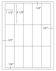1 1/2 x 3 1/2 Rectangle<BR>Recycled White Label Sheet<BR>Wholesale Pkg. 250 sheets<BR><B>USUALLY SHIPS WITHIN 24 HRS</B>