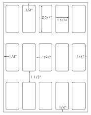 1 5/16 x 2 3/4 Rectangle<BR>White High Gloss Laser Label Sheet<BR>Wholesale Pkg. 250 sheets<BR><B>USUALLY SHIPS WITHIN 24 HRS</B>