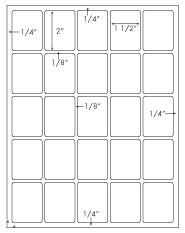 1 1/2 x 2 Rectangle<BR>White Opaque BLOCKOUT Printed Label Sheet<BR><B>USUALLY SHIPS IN 2-3 BUSINESS DAYS</B>