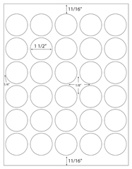1 1/2&#34; Diameter Round Circle - 30 up<BR>White High Gloss Laser Label Sheet<BR>Wholesale Pkg. 250 sheets<BR><B>USUALLY SHIPS WITHIN 24 HRS</B>