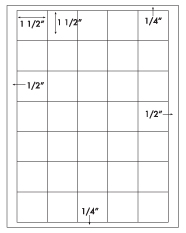 1 1/2 x 1 1/2 Square<BR>Standard Uncoated White Printed Label Sheet<BR><B>USUALLY SHIPS IN 2-3 BUSINESS DAYS</B>