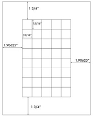 15/16 x 15/16 Square <BR>Recycled White Printed Label Sheet<BR><B>USUALLY SHIPS IN 2-3 BUSINESS DAYS</B>