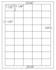 1 1/2 x 1 1/8 Rectangle <BR>Standard Uncoated White Printed Label Sheet<BR><B>USUALLY SHIPS IN 2-3 BUSINESS DAYS</B>