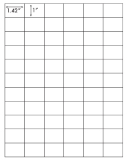 1.42 x 1 Rectangle <BR>Natural Ivory Printed Label Sheet<BR><B>USUALLY SHIPS IN 2-3 BUSINESS DAYS</B>