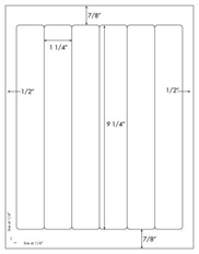 1 1/4 x 9 1/4 Rectangle<BR>Standard Uncoated White Printed Label Sheet<BR><B>USUALLY SHIPS IN 2-3 BUSINESS DAYS</B>