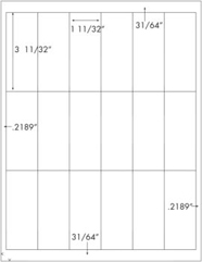 1 11/32 x 3 11/32 Rectangle <BR>Standard Uncoated White Printed Label Sheet<BR><B>USUALLY SHIPS IN 2-3 BUSINESS DAYS</B>