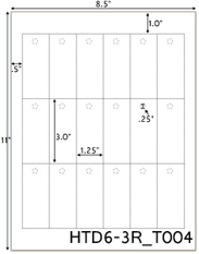 1.25 x 3 Rectangle w/ pre-drilled 1/4 hole<BR>White High Gloss Perforated Hang Tag Sheet<BR>Wholesale Pkg. 250 sheets<BR><B>USUALLY SHIPS WITHIN 24 HRS</B>