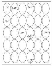1 1/4 x 2 Oval<BR>Removable White Printed Label Sheet<BR><B>USUALLY SHIPS IN 2-3 BUSINESS DAYS</B>