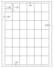 1 1/4 x 1 1/2 Rectangle <BR>Removable White Printed Label Sheet<BR><B>USUALLY SHIPS IN 2-3 BUSINESS DAYS</B>