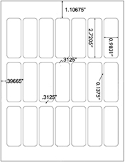 0.9831 x 2.7205 Rectangle <BR>Recycled White Label Sheet<BR>Wholesale Pkg. 250 sheets<BR><B>USUALLY SHIPS WITHIN 24 HRS</B>