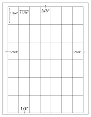 1 1/16 x 1 3/4 Rectangle<BR>White High Gloss Laser Label Sheet<BR>Wholesale Pkg. 250 sheets<BR><B>USUALLY SHIPS WITHIN 24 HRS</B>