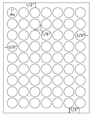 1 Diameter Round Circle<BR>Standard Uncoated White Printed Label Sheet<BR><B>USUALLY SHIPS IN 2-3 BUSINESS DAYS</B>