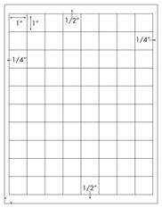 1 x 1 Square <BR>White High Gloss Laser Label Sheet<BR>Wholesale Pkg. 250 sheets<BR><B>USUALLY SHIPS WITHIN 24 HRS</B>