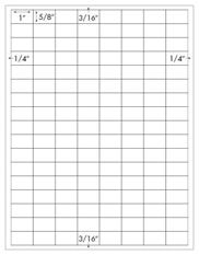1 x 5/8 Rectangle; 136 up <BR>White High Gloss Laser Label Sheet<BR>Wholesale Pkg. 250 sheets<BR><B>USUALLY SHIPS WITHIN 24 HRS</B>