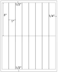 1 x 5 Rectangle <BR>White High Gloss Laser Label Sheet<BR>Wholesale Pkg. 250 sheets<BR><B>USUALLY SHIPS WITHIN 24 HRS</B>