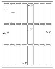 7/8 x 3 3/8 Rectangle <BR>White Opaque BLOCKOUT Printed Label Sheet<BR><B>USUALLY SHIPS IN 2-3 BUSINESS DAYS</B>