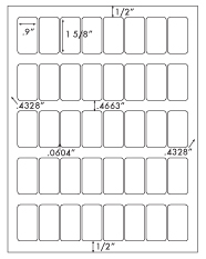 .9 x 1 5/8 Rectangle <BR>White High Gloss Printed Label Sheet<BR><B>USUALLY SHIPS IN 2-3 BUSINESS DAYS</B>
