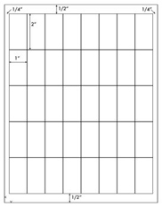 1 x 2 Rectangle<BR>Khaki Tan Printed Label Sheet<BR><B>USUALLY SHIPS IN 2-3 BUSINESS DAYS</B>