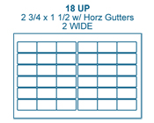 2 3/4 x 1 1/2 Rectangle w/ horz gutters<BR>White Water-Resistant Polyester Label Sheet<BR>Wholesale Pkg. 250 sheets<BR><B>USUALLY SHIPS IN 24-48 HRS</B>